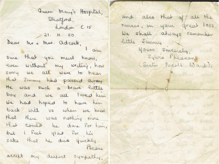 A letter from the nurses who cared for James Arthur Adcock, November 1950.