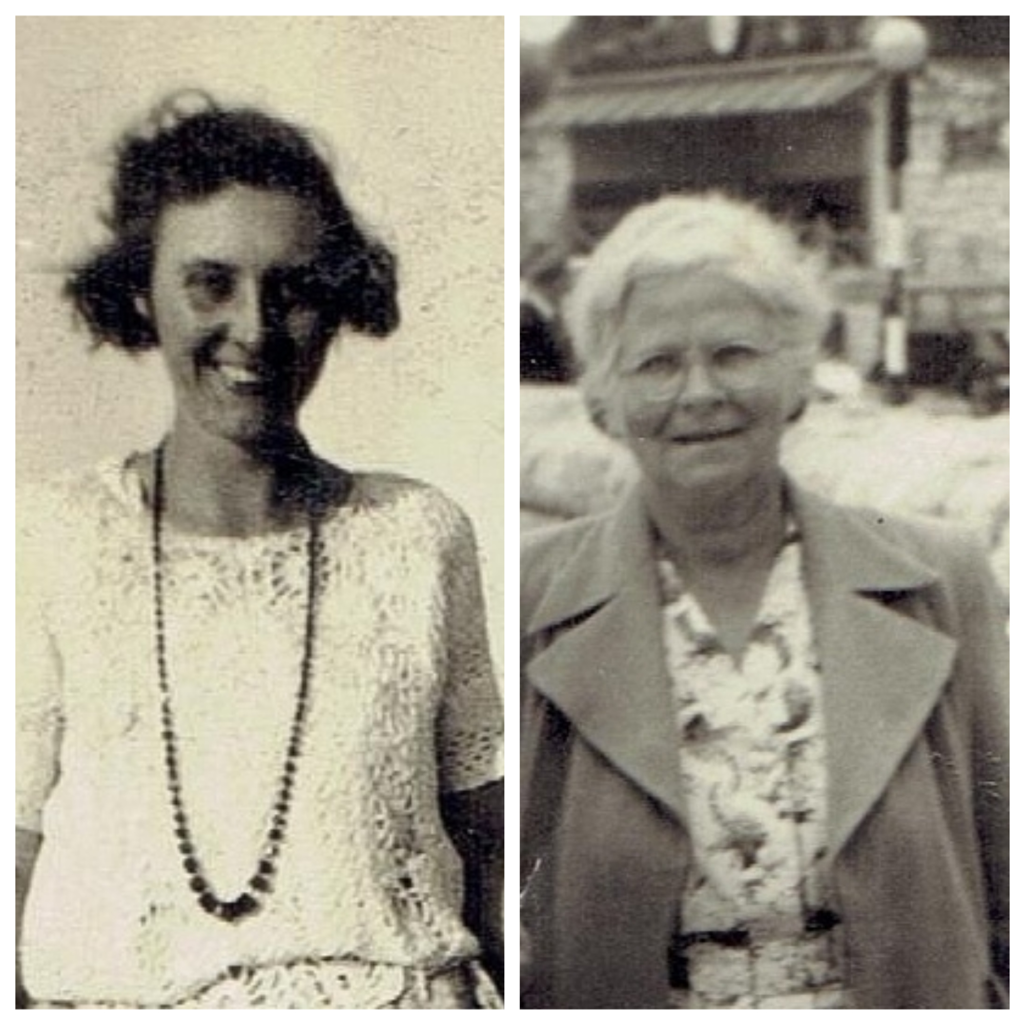 Image of two woman. One aged in her thirties taken around 1926. Th second woman aged in her sixties taken around 1955.
