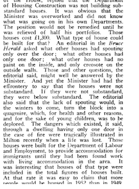 Copy of text from a parliamentary debate (1953) on the suitability of the housing being provided for the Ten Pound Poms.
