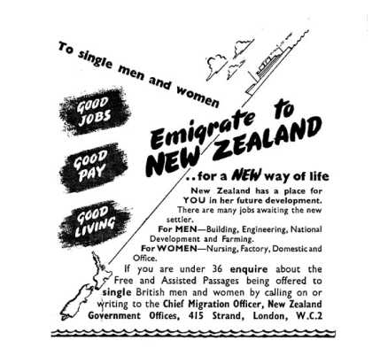 A poster printed in earyl 1950's encouraging min and women to come to New Zealand where good jobs, good pay and good living wait.