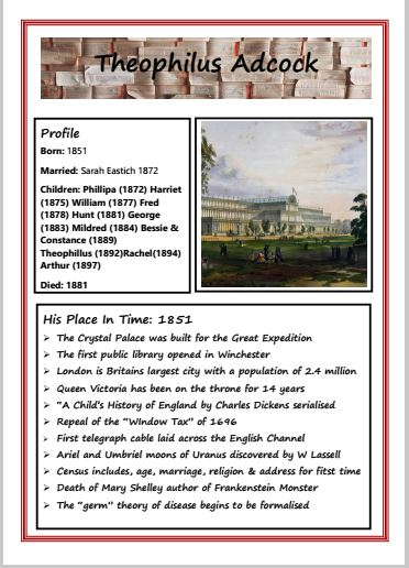 Page one of family history template showing profile dates, Crystal Palace and list of events for 1851 timeline.