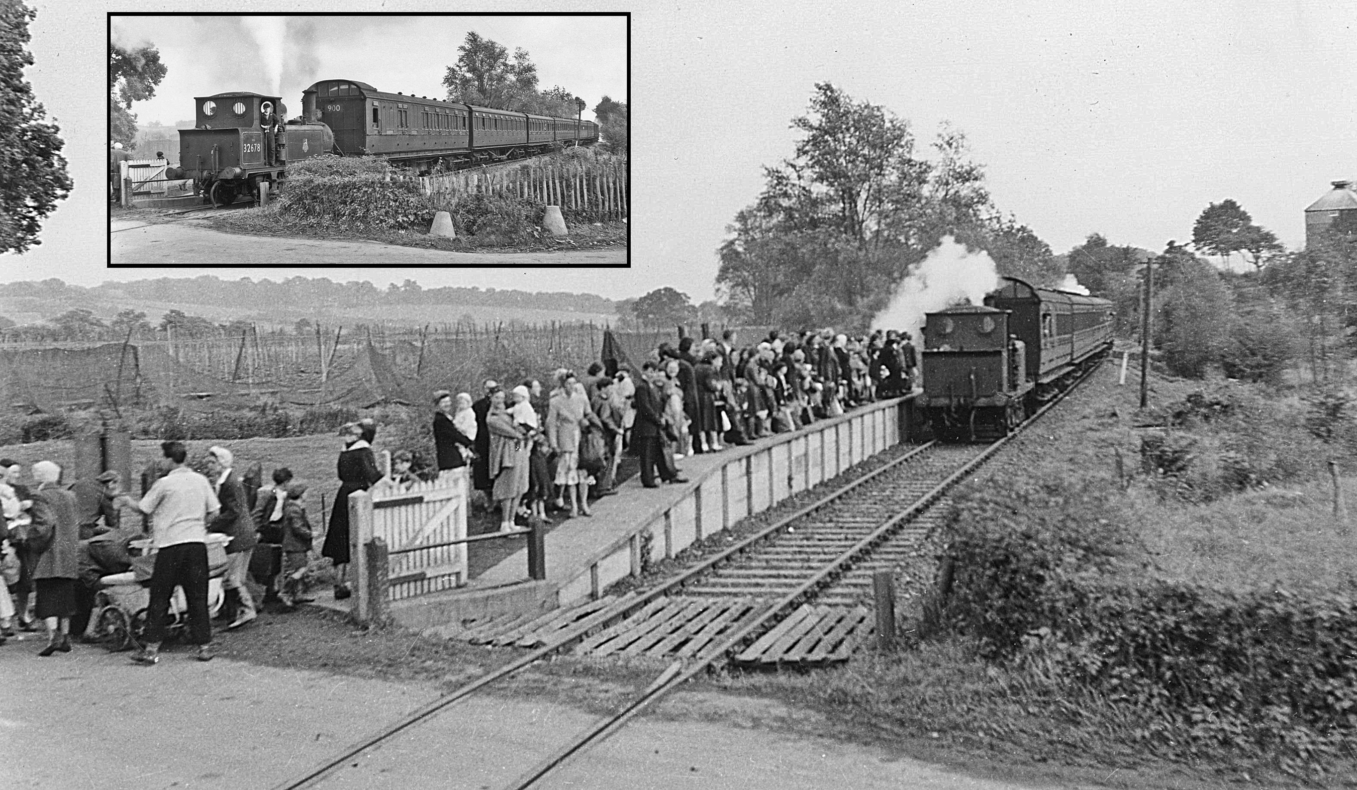 Image of train pulling into an open station. The platform is filled with adults and children. Their destination is the hop fields of Kent.