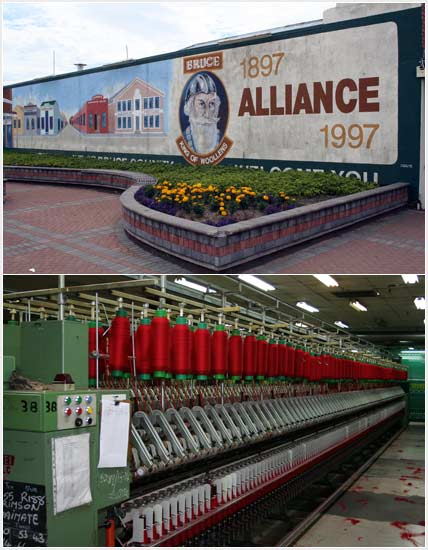 Photograph by Jock Phillips showing the bill board for the Alliance Mills and a winding machine. http://www.TeAra.govt.nz/en/photograph/22780/miltons-mill (accessed 13 May 2019)