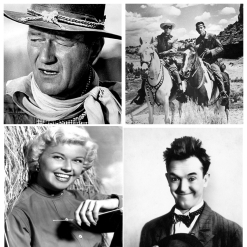 A collage of black & white images. John Wayne, Doris Day, Stan Laurel and The Lone Ranger. Movie idols from my childhood memories of the 1950's