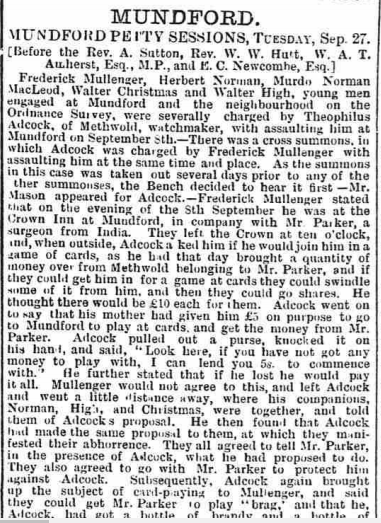 Newspaper report on the court case of Theophilus Adcock.