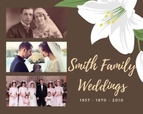 A poster image showing a scrapbooking idea showing a family history through weddings. There are 3 images of wedding couples for the years, 1937, 1970 and 2010