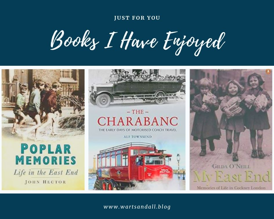 A collage of three books about charabancs and London East End
