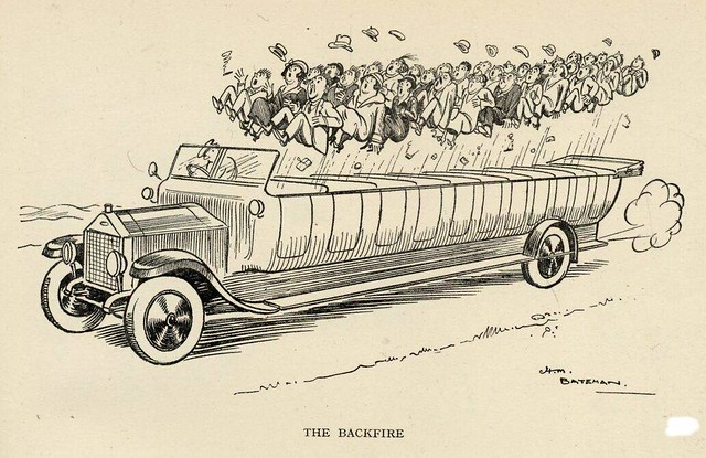 "A charabanc cartoon showing all the occupants of an open topped charabanc bouncing out of their seats. Titled ""The Backfire"""