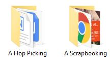 """Screen capture showing two folders. One labeled """"Hop Picking"""" the other """"Scrapbooking"""""""