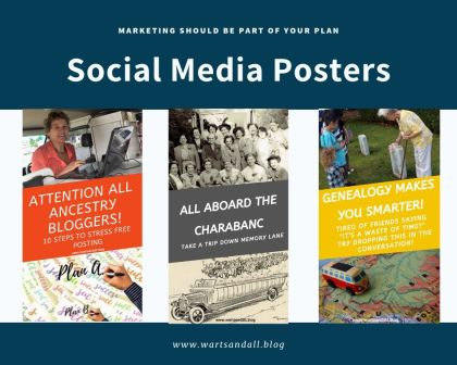 A collage of three posters advertising three posts. Ancestry bloggers, All Aboard The Charabanc and Genealogy: A Smart Hobby