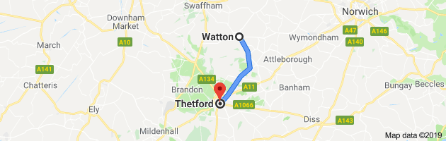 Map showing the distance betwee Watton and Thetford