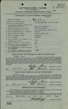 A military record showing the  Attestation paper of the Canadian Expeditionary Forces