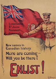 Poster used in World War 1 to encourage enlistment to the Canadian Expediotnary Force
