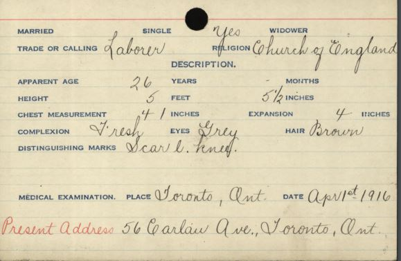 Handwritten military record of a soldiers physical characteristics highlighting his grey eyes