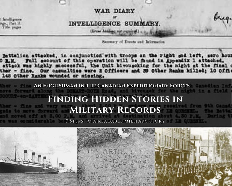 Collage of images depicting world war one. Military records, marching men and troop ships