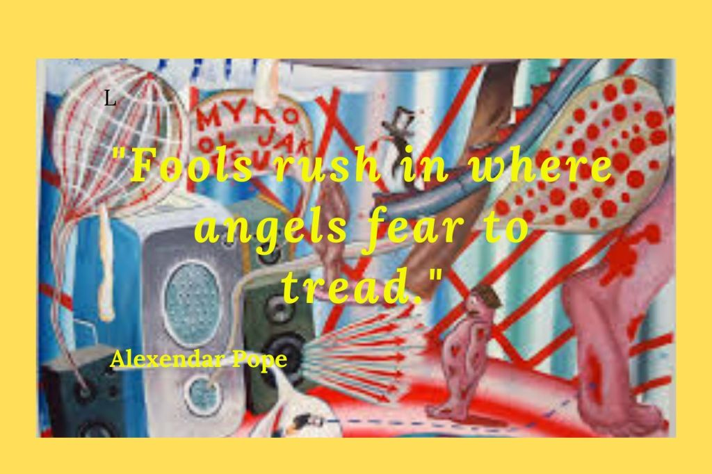 "Quote"" Fools rush in where angels fear to tread by Alexander Pope"